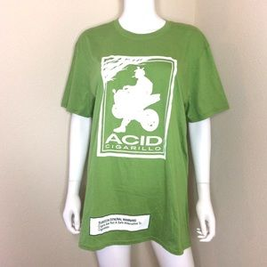 Acid cigar long shirt XL green White T-shirt dress